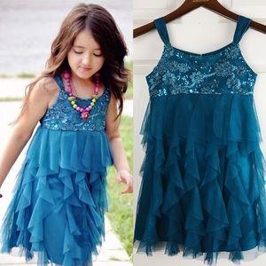 👗Biscotti👗 Girls Blue Flowers Lace Dress
